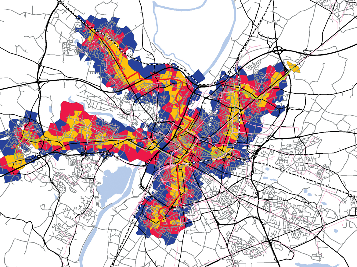 Systematica-Angers-Catchment Area of Tram Lines