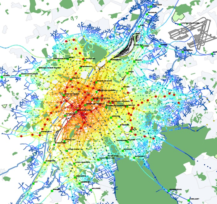 Systematica-Brussels 2040-Isochronal Accessibility from PT Stops