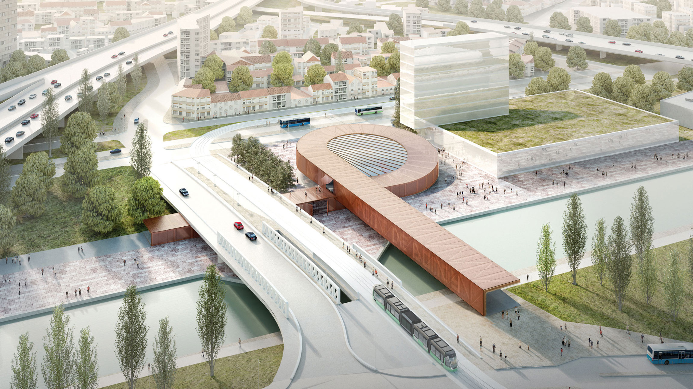 Pont de Bondy Metro Station, Render of Project (Courtesy of BIG)
